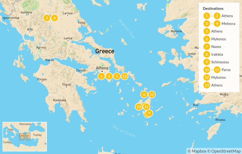 Map of Essential Greece: Athens & Greek Cyclades Sailing Adventure - 14 Days