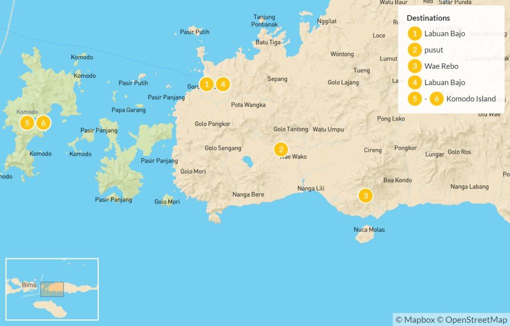 Map of Western Flores & the Komodo Archipelago - 7 Days