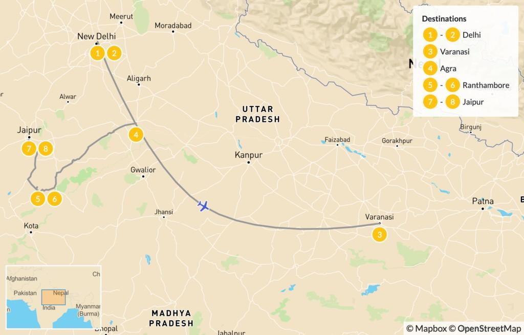 Map of Highlights of North India: Golden Triangle, Taj Mahal, Varanasi, & More - 10 Days