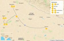 Map thumbnail of Highlights of North India: Golden Triangle, Taj Mahal, Varanasi, & More - 10 Days