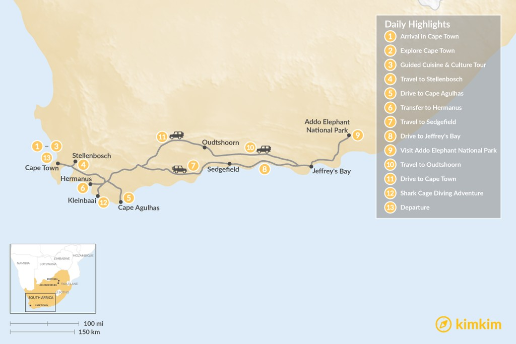 Map of Cape Town & Garden Route Adventure - 13 Days