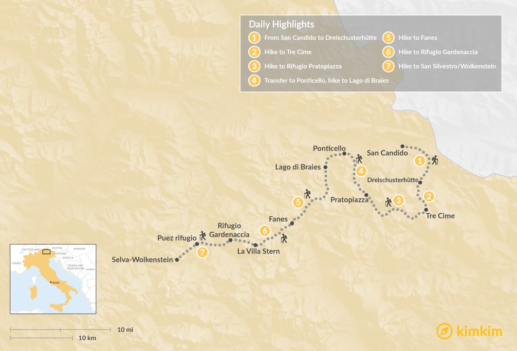 Map of Dolomites High Traverse: Hut-to-Hut Hiking in Italy - 7 Days