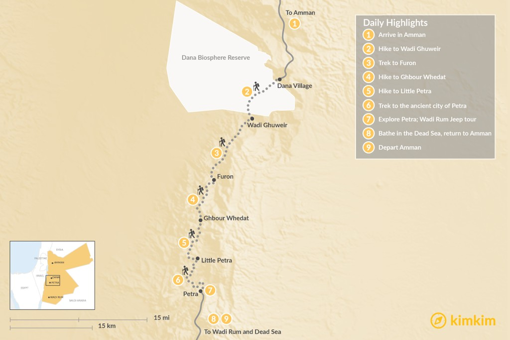 Map of Trekking the Jordan Trail from Dana to Petra – 9 Days