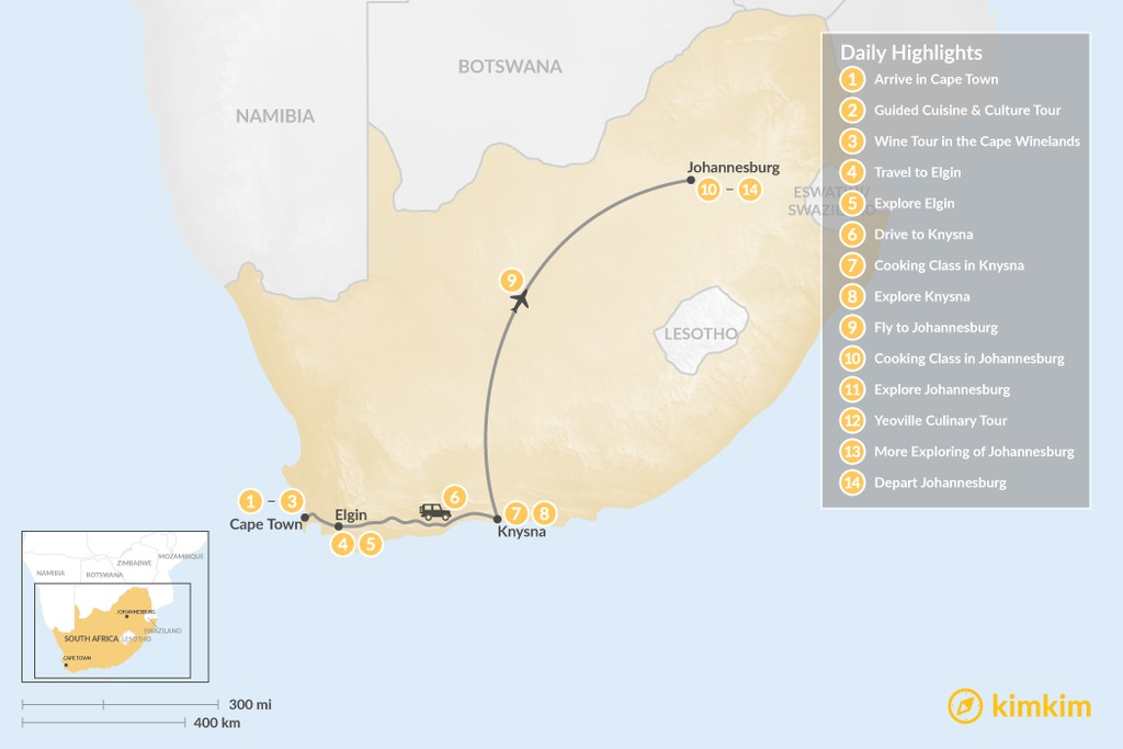 Map of South Africa Food & Wine Tour: Cape Town, Garden Route, & Johannesburg - 14 Days