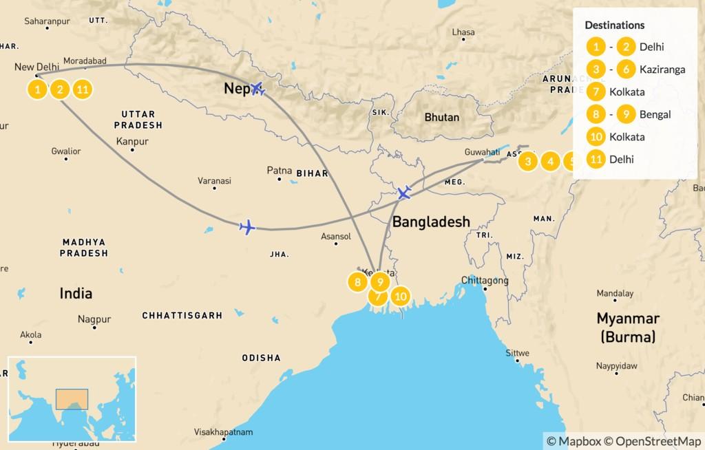 Map of Delhi & Kolkata Wildlife Tour - 11 Days