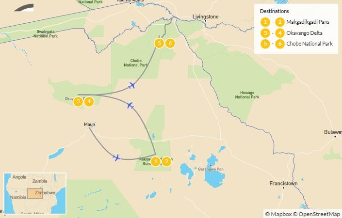Map of Explore Botswana: Okavango, Makgadikgadi Pans, & Chobe Safari - 7 Days