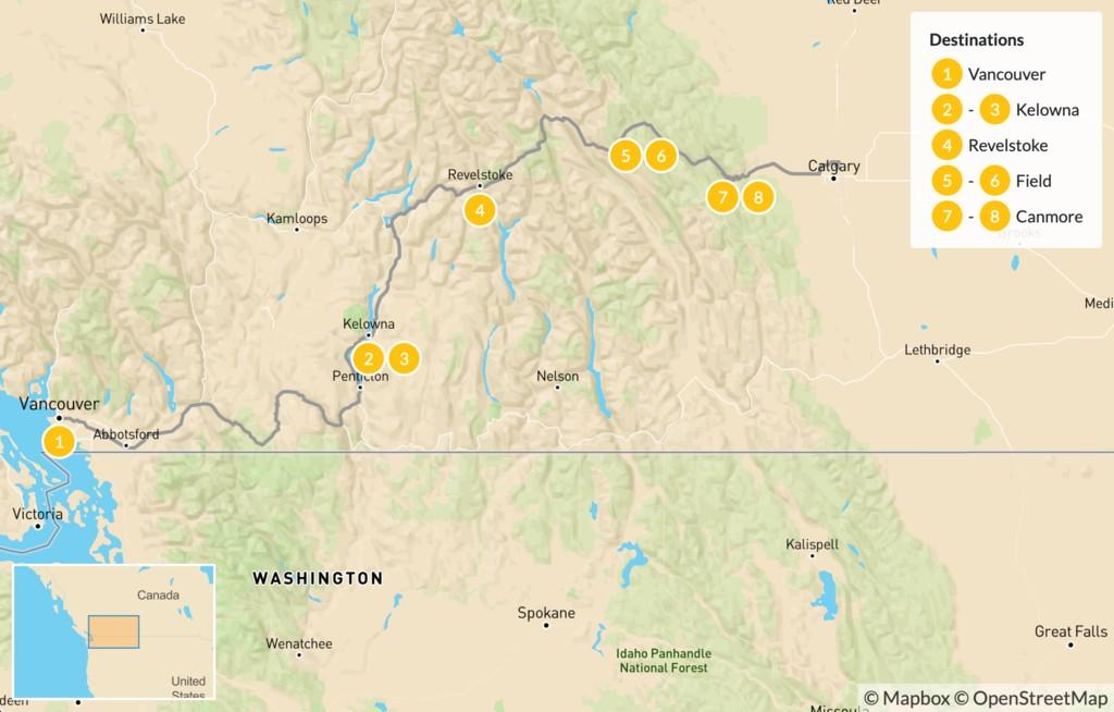 Map of Vancouver to Calgary Road Trip: Okanagan Valley & Canadian Rockies - 9 Days