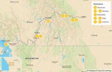 Map thumbnail of Vancouver to Calgary Road Trip: Okanagan Valley & Canadian Rockies - 9 Days