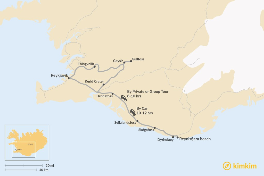 Map of How to Get from Golden Circle to the South Coast