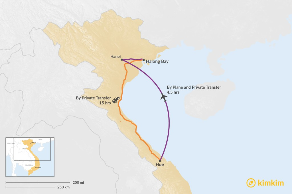 Map of How to Get from Hue to Halong Bay