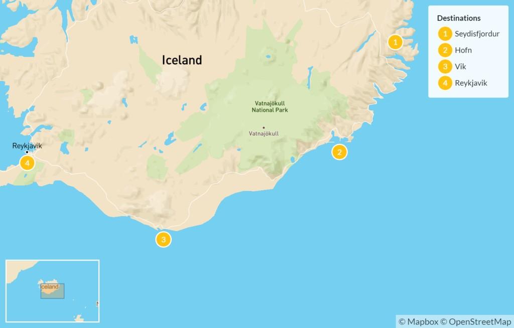 Map of East Fjords, South Coast, & Reykjavik - 5 Days