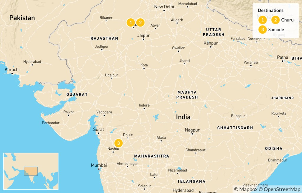 Map of Golden Triangle & Rajasthan - 11 Days