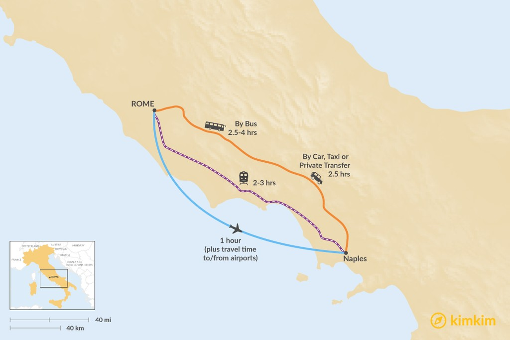 Map of How to Get from Rome to Naples