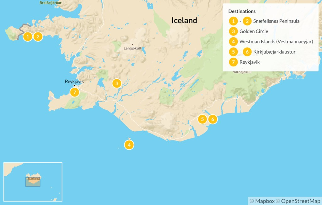 Map of Iceland: Snaefellsnes Peninsula, Golden Circle, Westman Islands, & South Coast - 8 Days