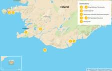 Map thumbnail of Iceland: Snaefellsnes Peninsula, Golden Circle, Westman Islands, & South Coast - 8 Days