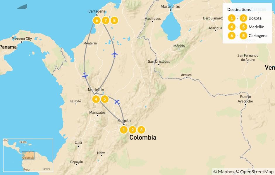 Map of Best of Colombia: Bogotá, Medellín & Cartagena - 9 Days
