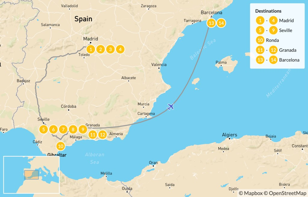 Map of Best of Spain Highlights Tour: Barcelona, Madrid, & Seville - 15 Days