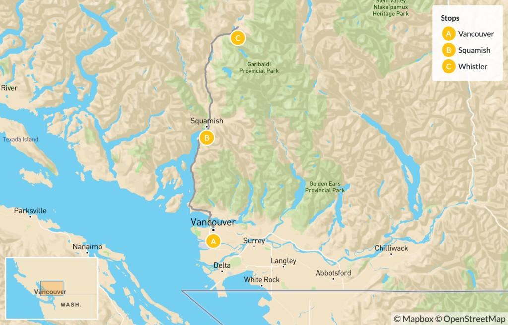 Map of Sea-to-Sky Highway Getaway - 4 Days