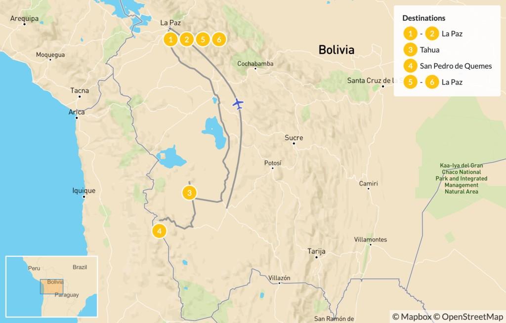 Map of Explore Bolivia: La Paz & Great Uyuni Salt Flats - 7 Days