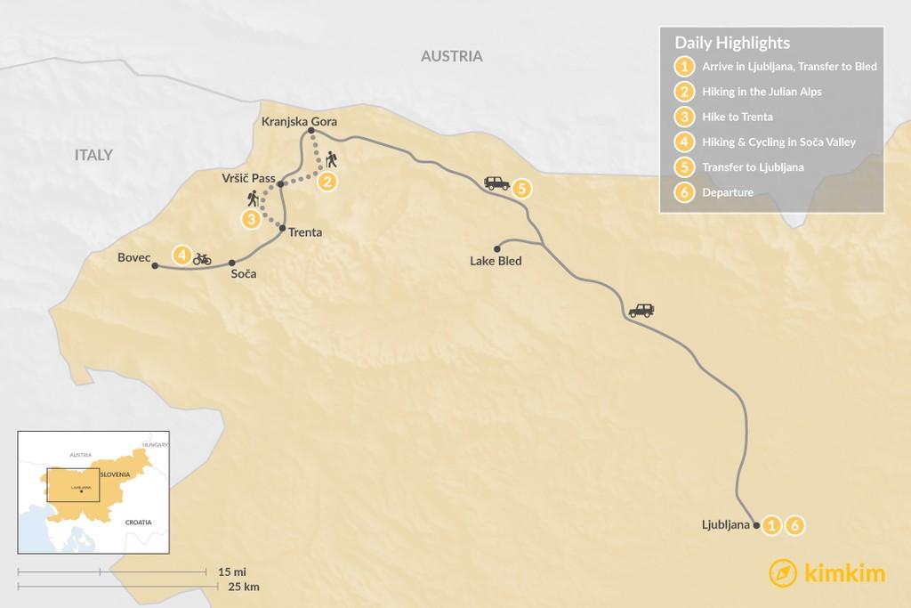 Map of Slovenia Multisport Adventure - 6 Days