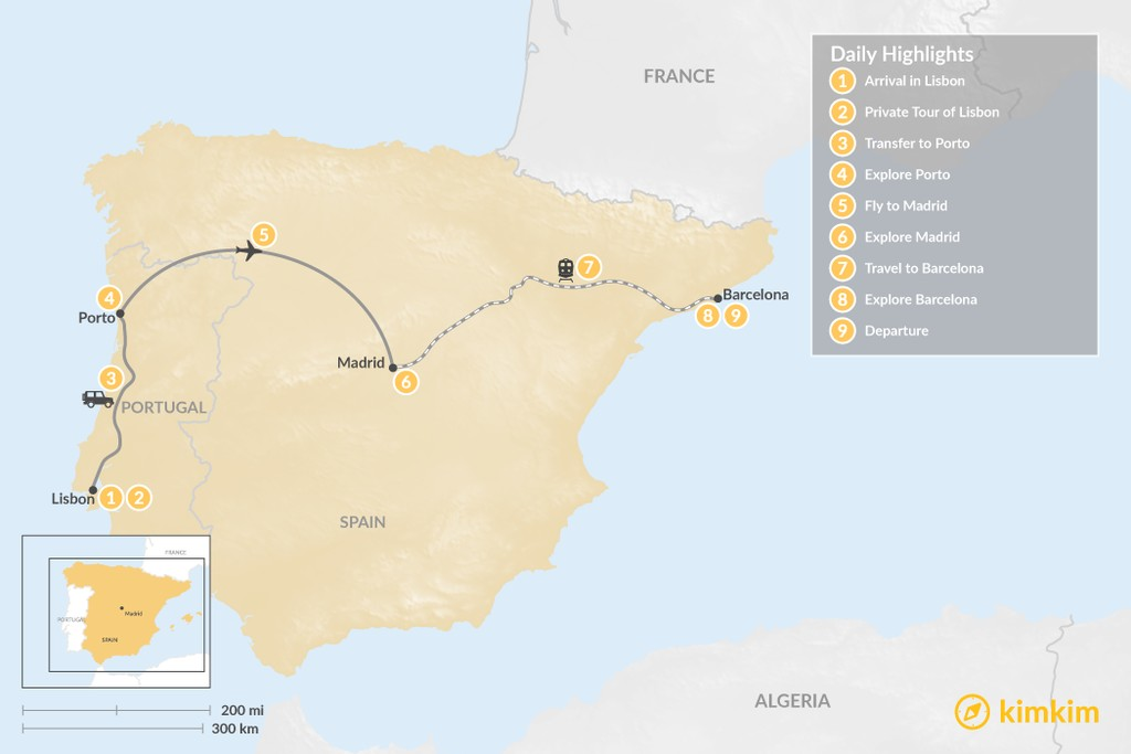 Map of Highlights of Spain & Portugal: Cities, Beaches, & Culture - 9 Days