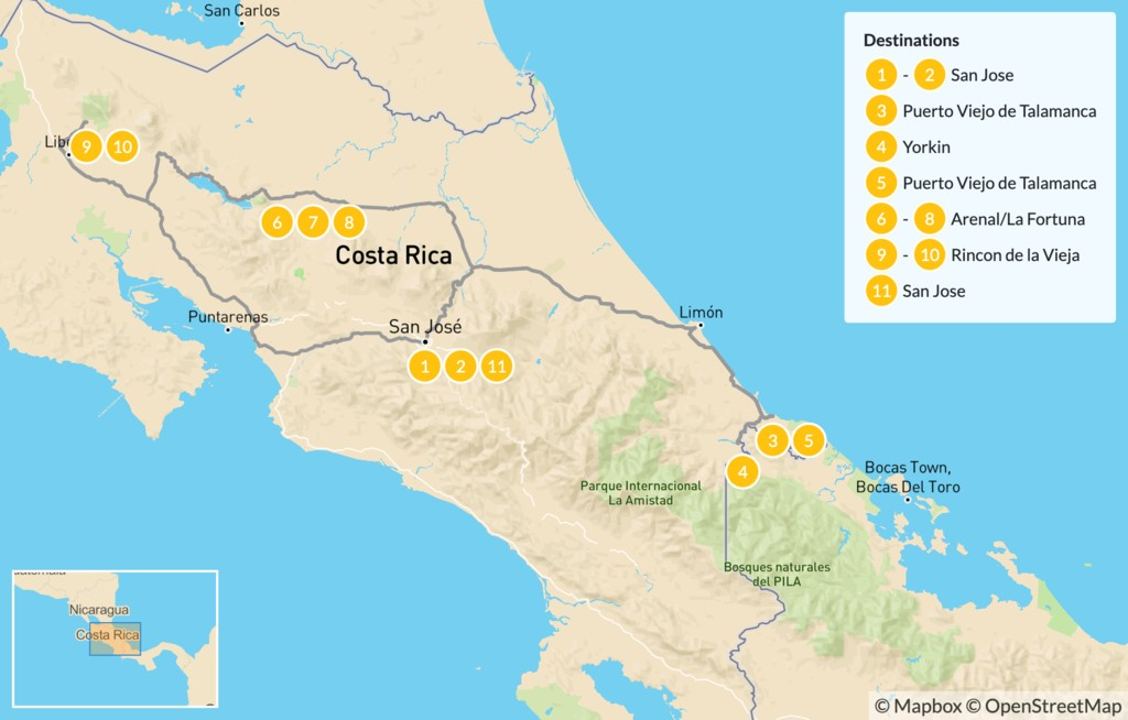 Map of Costa Rica Nature Parks and Cultural Immersion - 12 Days