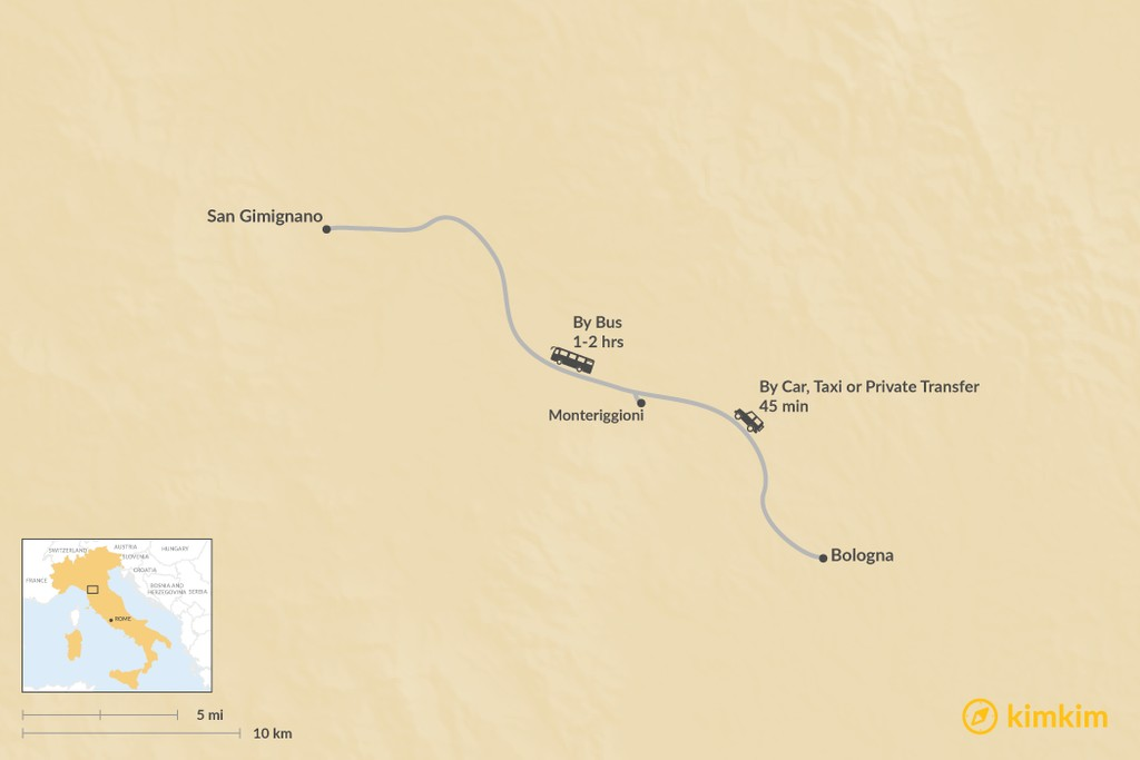 Map of How to Get from Siena to San Gimignano