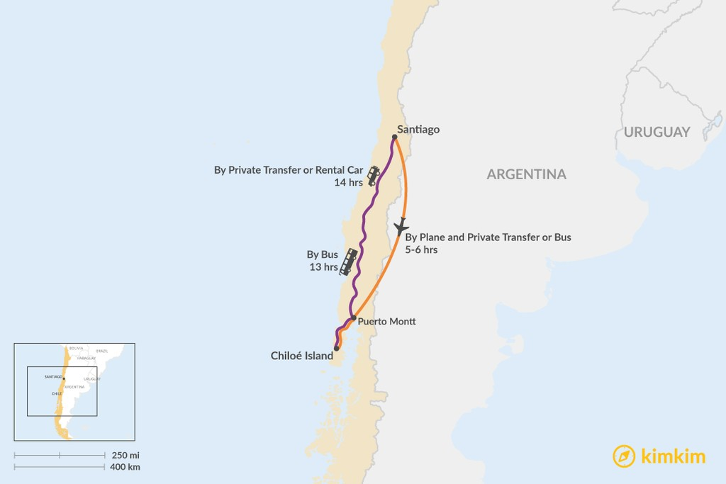 Map of How to Get from Santiago to Chiloe Island