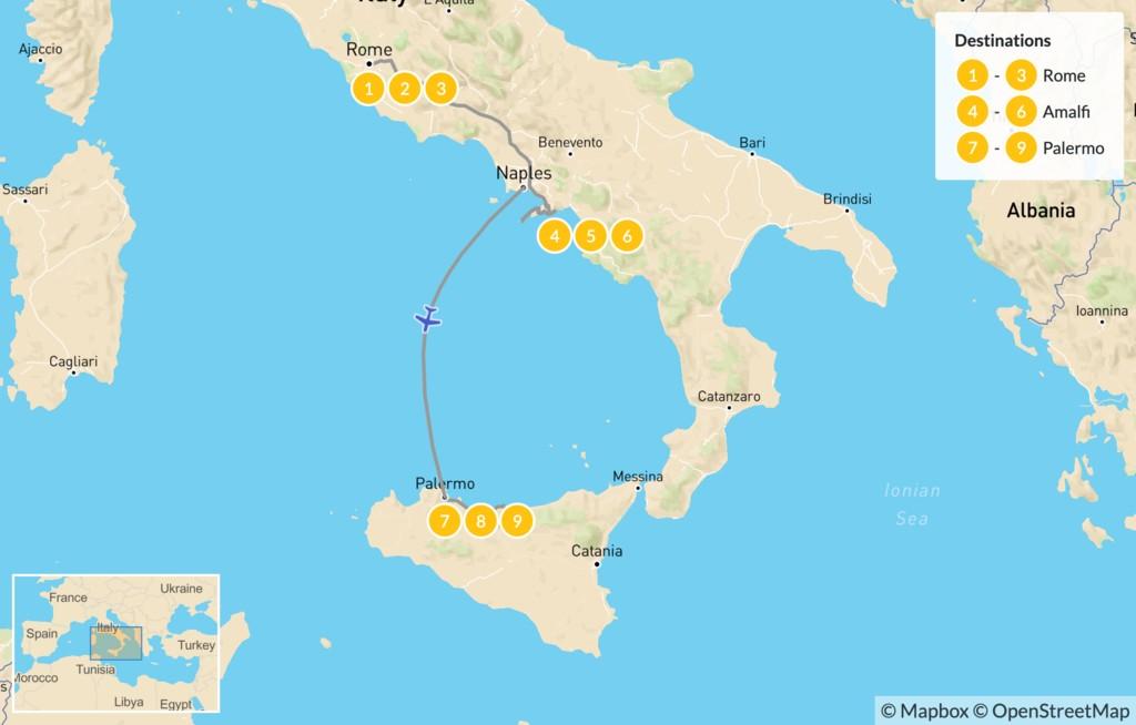 Map of Rome, Amalfi Coast, & Sicily - 10 Days