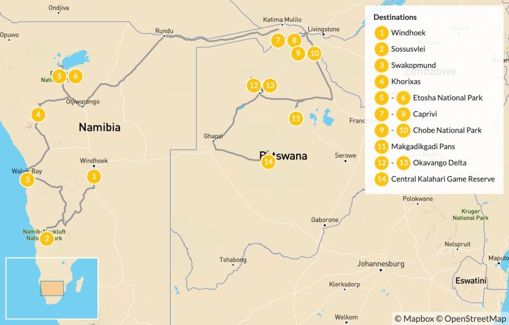 Map of Namibia & Botswana Safari Road Trip - 15 Days