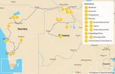 Map thumbnail of Namibia & Botswana Safari Road Trip - 15 Days