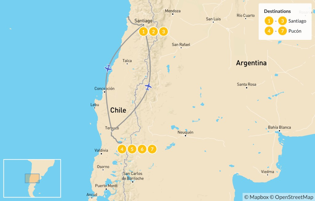 Map of Chilean Wine & Lakes Tour - 8 Days