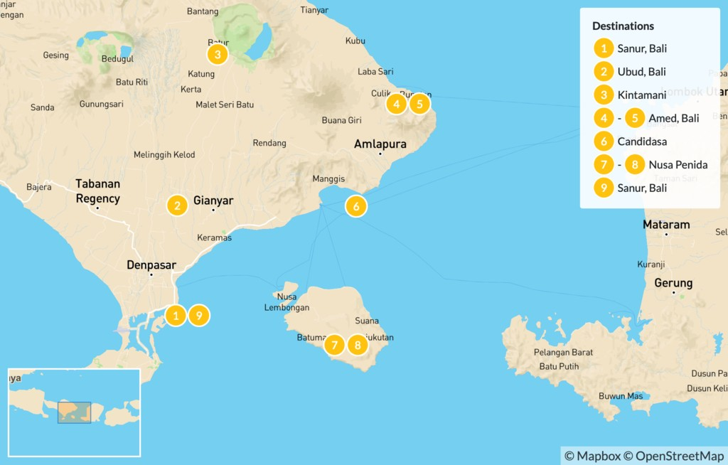 Map of Outdoor Adventures in Bali and Nusa Penida - 10 Days