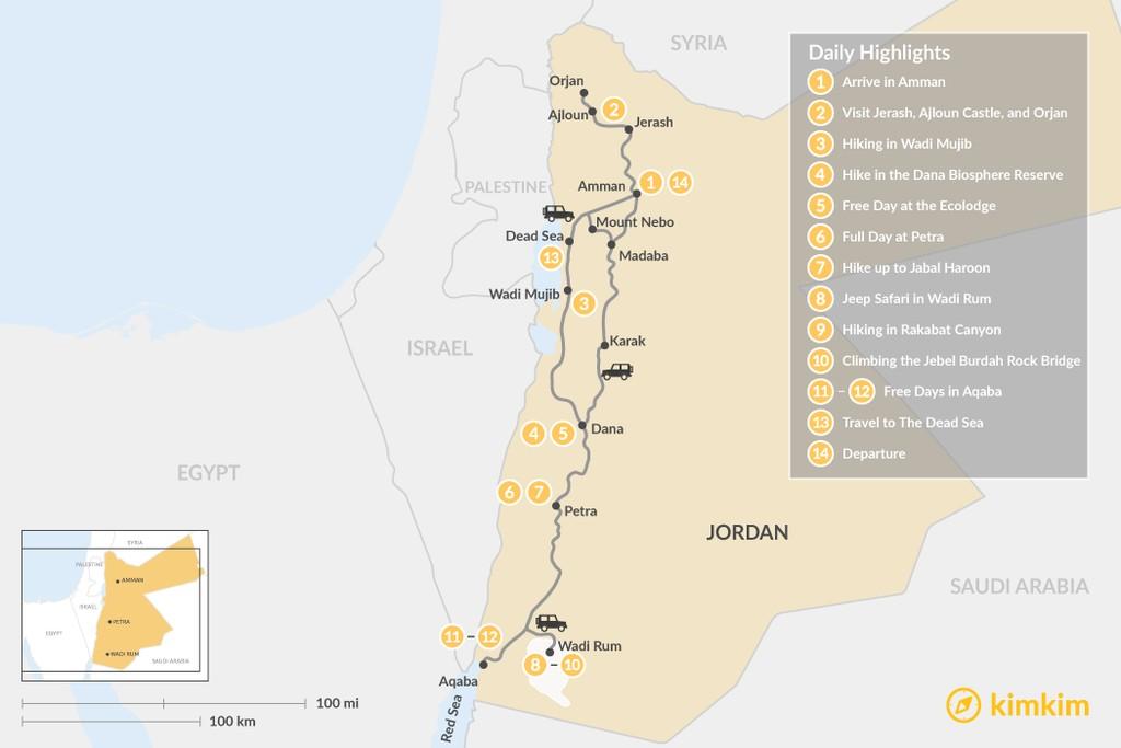 Map of Jordan Adventure Trip: Dana, Petra, Wadi Rum, and Aqaba - 14 Days
