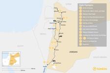 Map thumbnail of Jordan Adventure Trip: Dana, Petra, Wadi Rum, and Aqaba - 14 Days