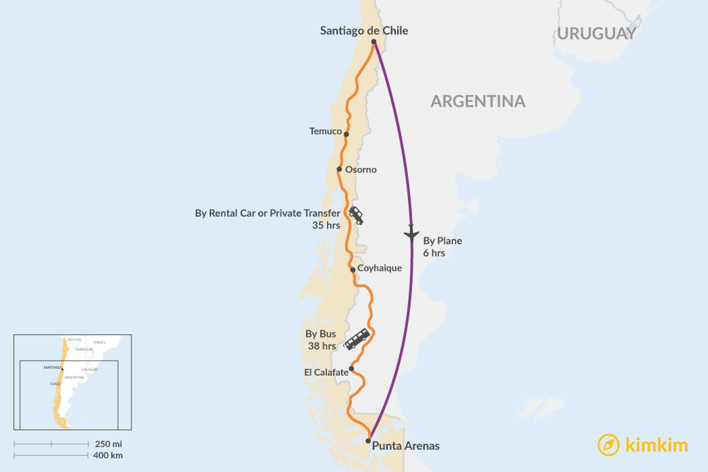 Map of How to Get from Santiago to Punta Arenas