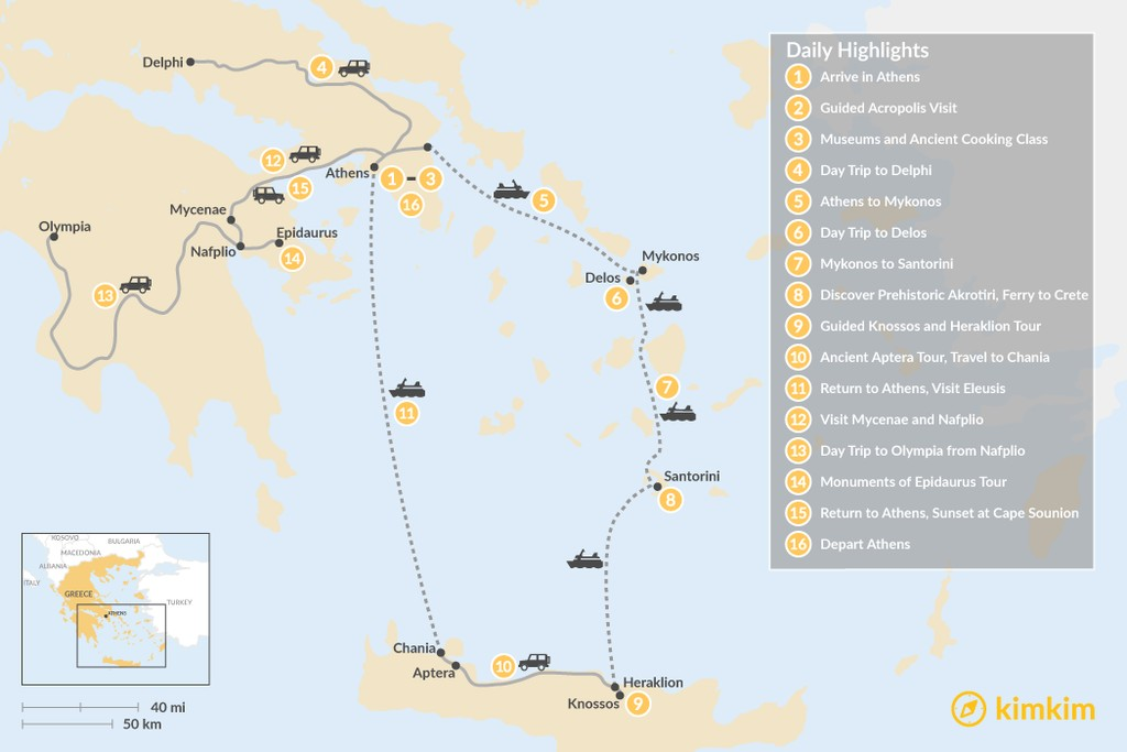 Map of Historic Athens, Mainland Greece, Cyclades, and Crete - 16 Days