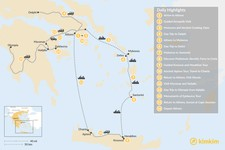 Map thumbnail of Historic Athens, Mainland Greece, Cyclades, and Crete - 16 Days