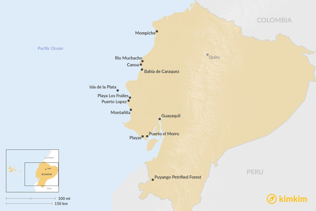 Map of Highlights of the Ecuadorian Coast