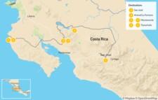 Map thumbnail of Diverse Costa Rica: Arenal, Monteverde & Tamarindo - 7 Days