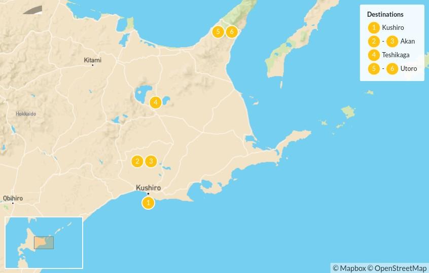 Map of Hokkaido in Winter: Lake Akan to Shiretoko - 7 Days