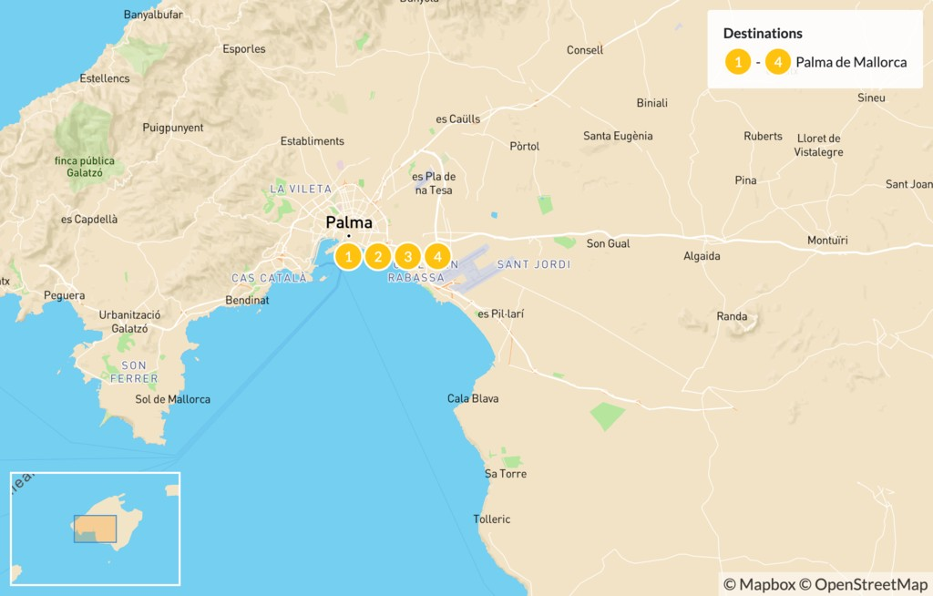 Map of Highlights of Mallorca: Beaches, Mountains, and Culture - 5 Days