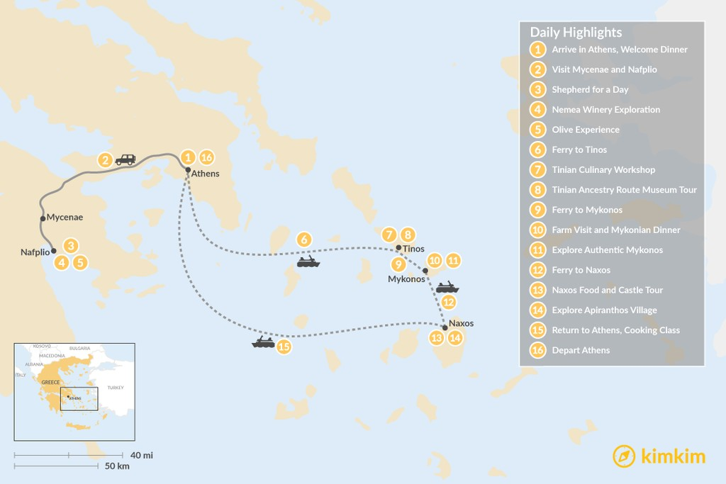 Map of Cyclades & Peloponnese Culinary Heritage - 16 Days