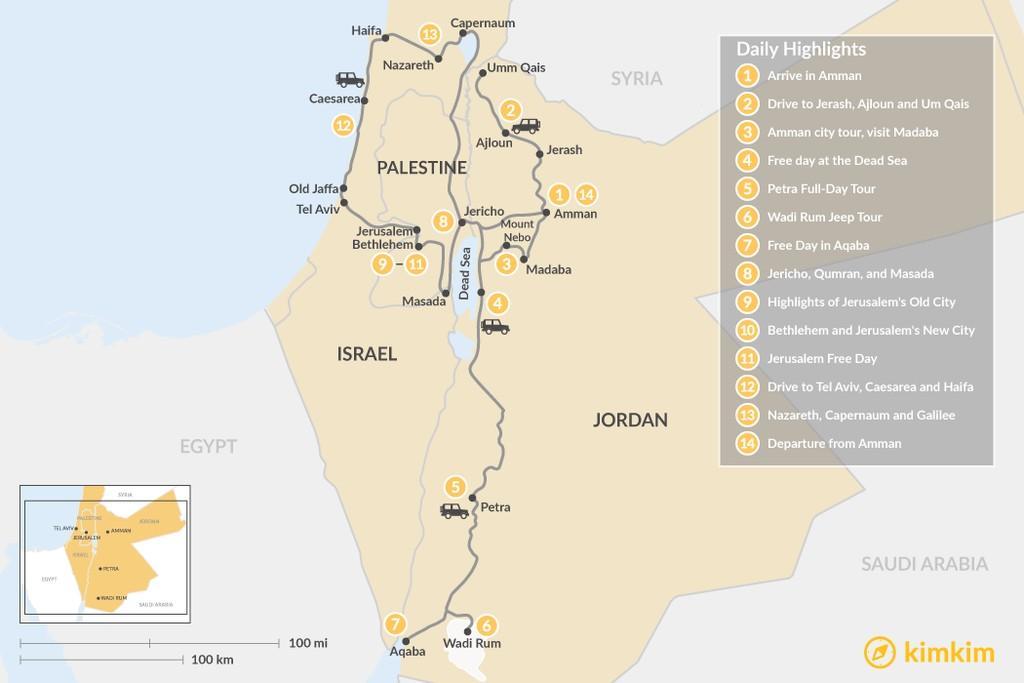 Map of Jordan and Holy Land Tour - 14 Days