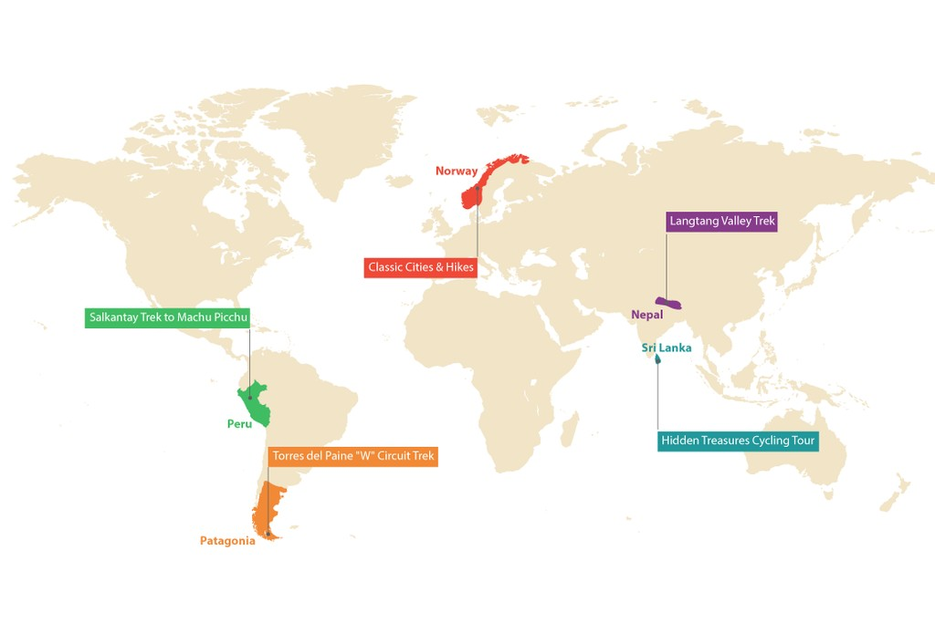 Map of 5 Active Trips to Take in 2020: Trekking in Nepal, Cycling in Sri Lanka, & More