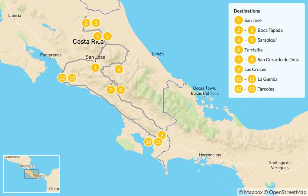 Map of Costa Rica Birding Road Trip - 14 Days