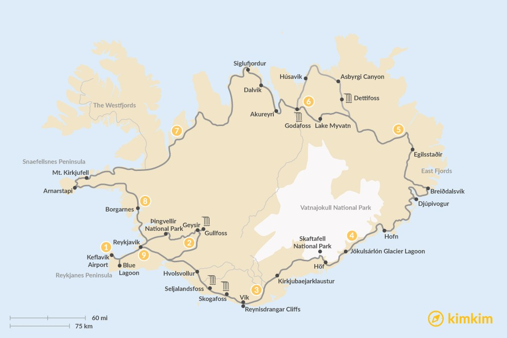 Map of Classic Circle Tour of Iceland - 9 Days