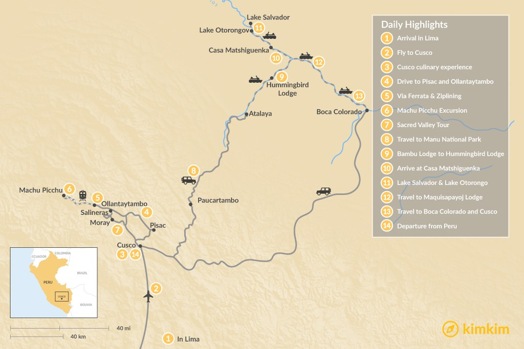 Map of Sacred Valley & Manu National Park - 14 Days