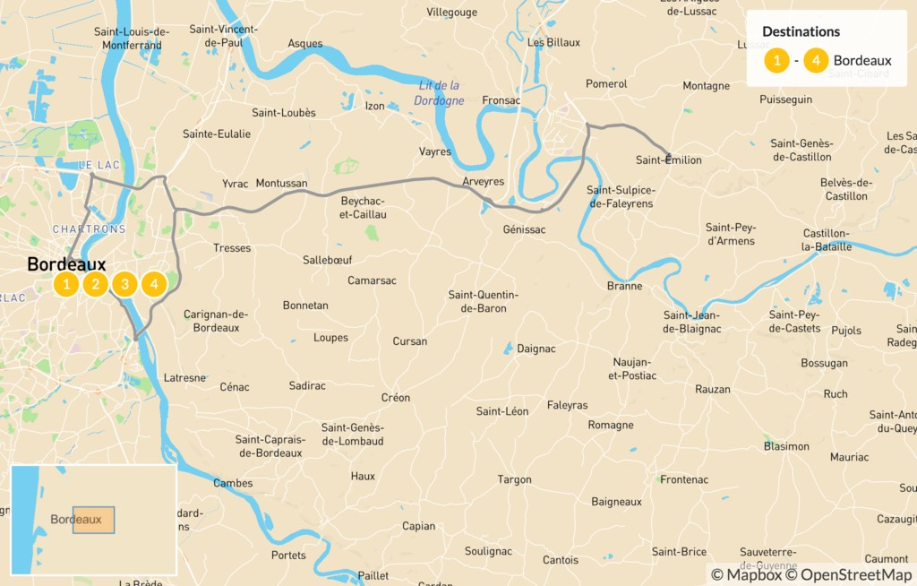 Map of Bordeaux for Wine Enthusiasts - 5 Days