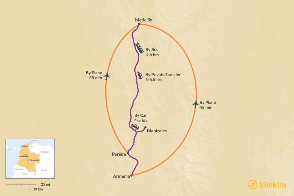 Map of How to Get from the Coffee Region to Medellín